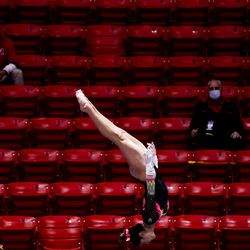 Utah's Emilie LeBlanc competes on the bars during a meet against Arizona at the Huntsman Center in Salt Lake City on Saturday, Jan. 23, 2021.
