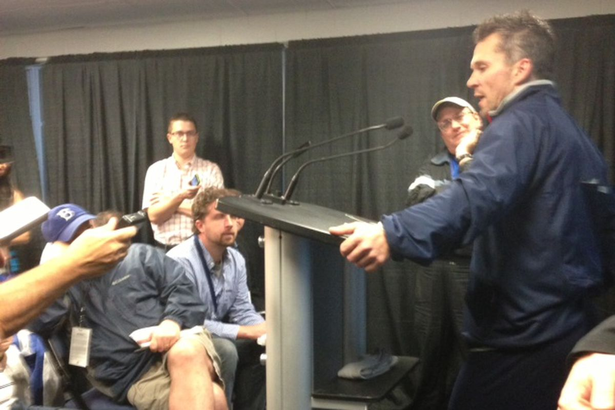 Martin St. Louis talks to the Tampa Bay media for the first time since demanding a trade to the New York Rangers last season.