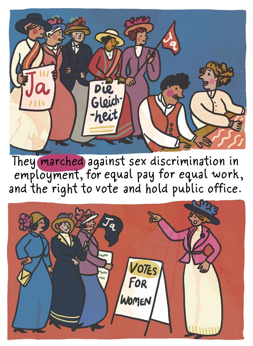 They marched against sex discrimination in employment, including equal pay for equal work, and for the right to vote and hold public office.