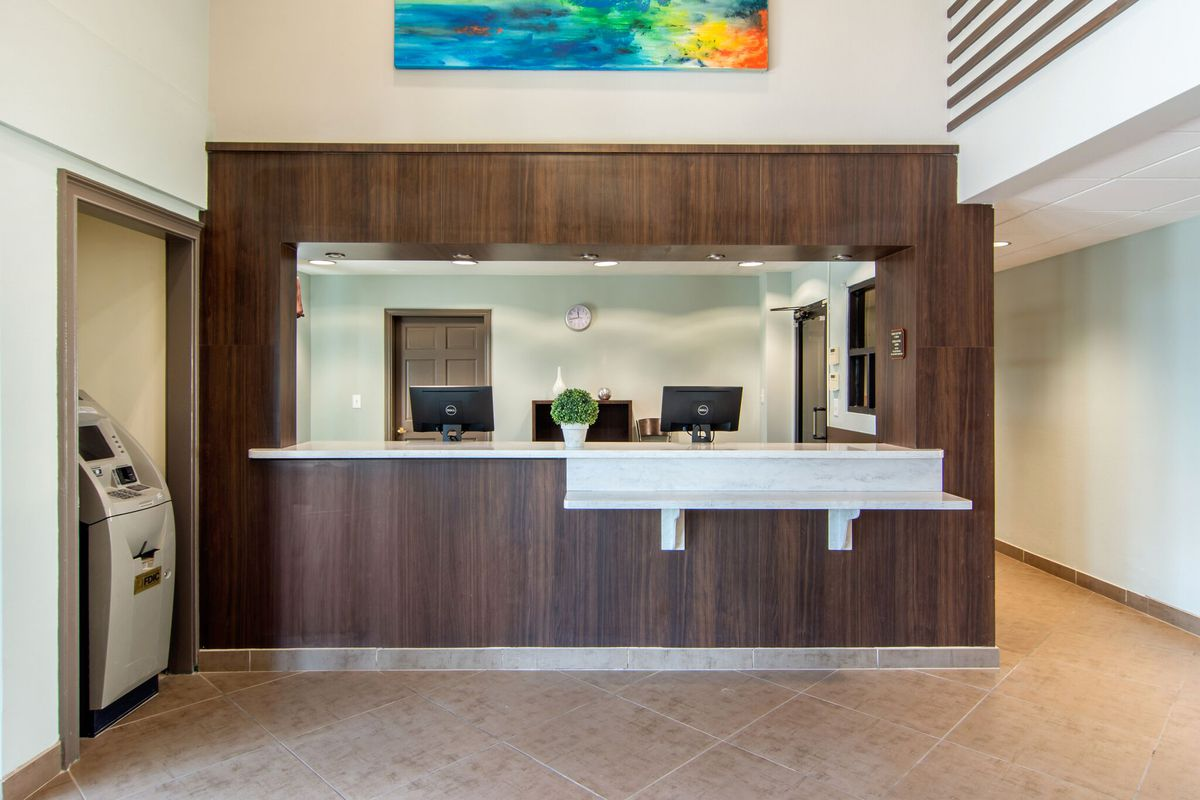 A photo of the new hotel's front desk.
