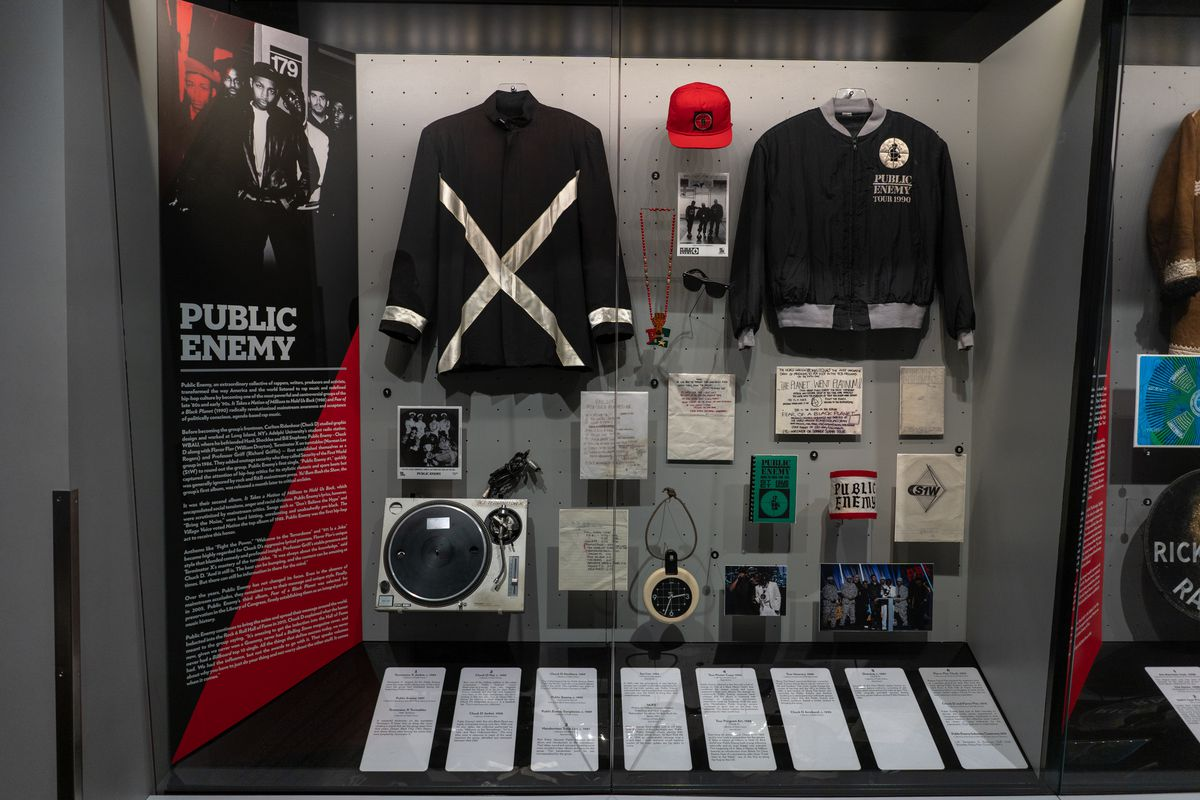 The Public Enemy display at the Rock & Roll Hall of Fame