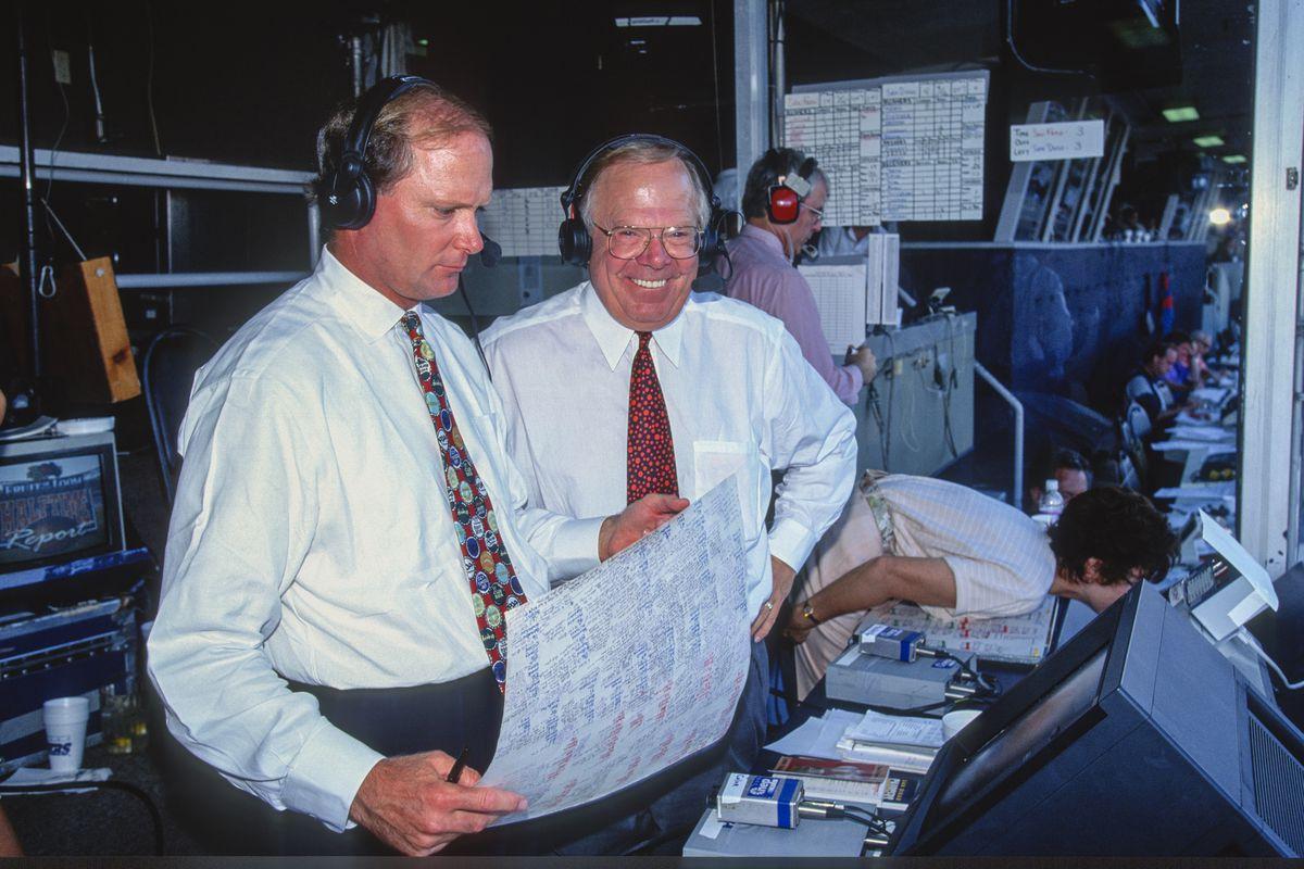 NFL San Diego Jack Murphy Stadium - TNT - TV commentators Pat Haden and Verne Lundquist...