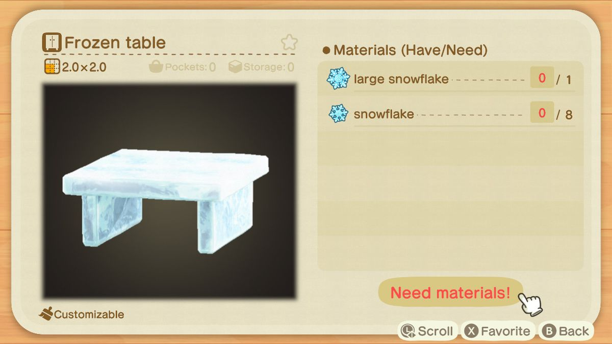 An Animal Crossing recipe for a Frozen Table