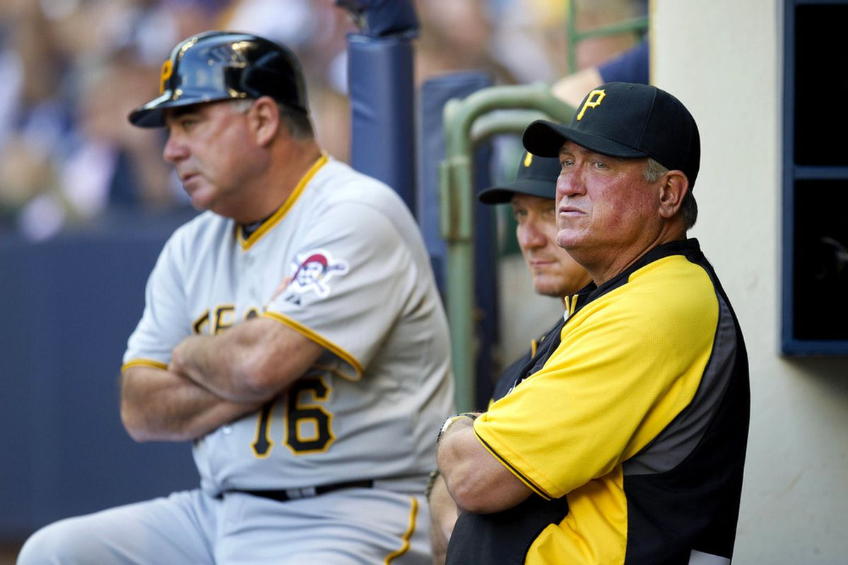 June 2, 2012: Milwaukee, WI, USA;  Pittsburgh Pirates manager Clint Hurdle (13; right) looks on during the game against the Milwaukee Brewers at Miller Park.  Mandatory Credit: Jeff Hanisch-US PRESSWIRE