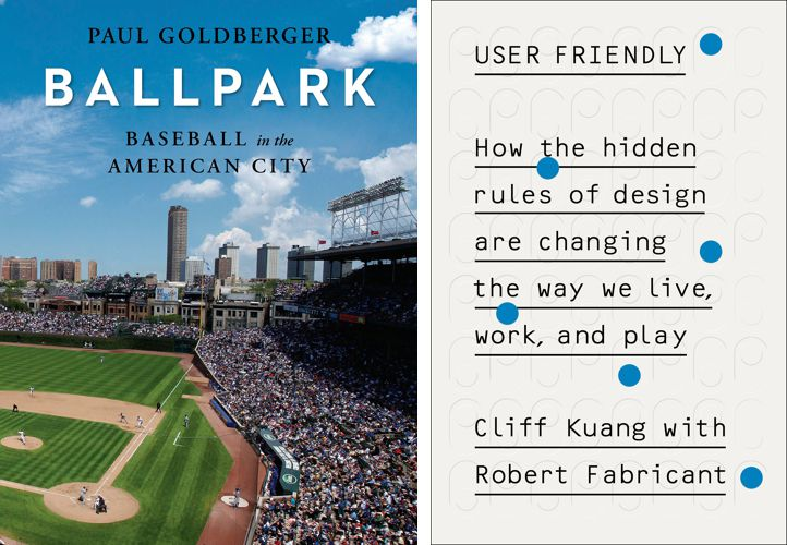 Two book covers: One for Ballpark that shows a packed baseball stadium, one for User Friendly that shows an abstracted punchcard used by older computers.