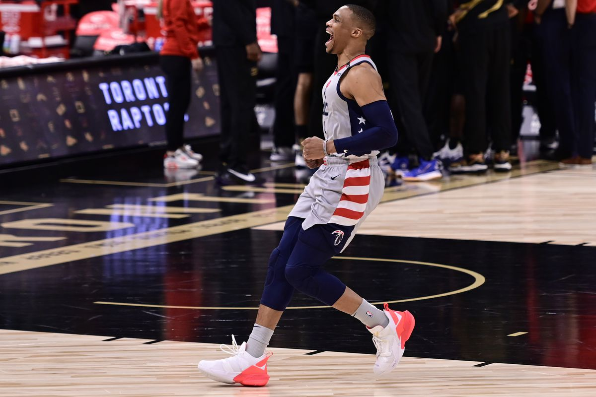 Russell Westbrook of the Washington Wizards reacts prior to the game against the Toronto Raptors at Amalie Arena on May 06, 2021 in Tampa, Florida.