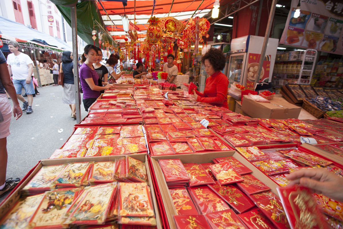 Hundreds of red envelopes on display at a China Town market in Singapore