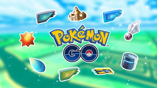 The Pokémon Go text logo sits in the middle of the screen, surrounded by various evolution items