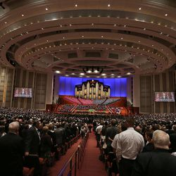 Overall photo of the morning session of the 183rd Semiannual General Conference of the Church of Jesus Christ of Latter-day Saints Sunday, Oct. 6, 2013, in Salt Lake City.