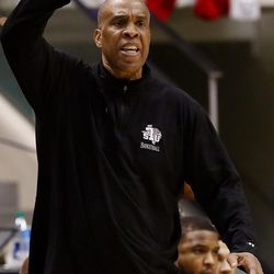 Texas Southern Tigers head coach Mike Davis calls a play as BYU and Texas Southern play an NCAA basketball game in Provo at the Marriott Center on Saturday, Dec. 23, 2017. BYU won 73-52.