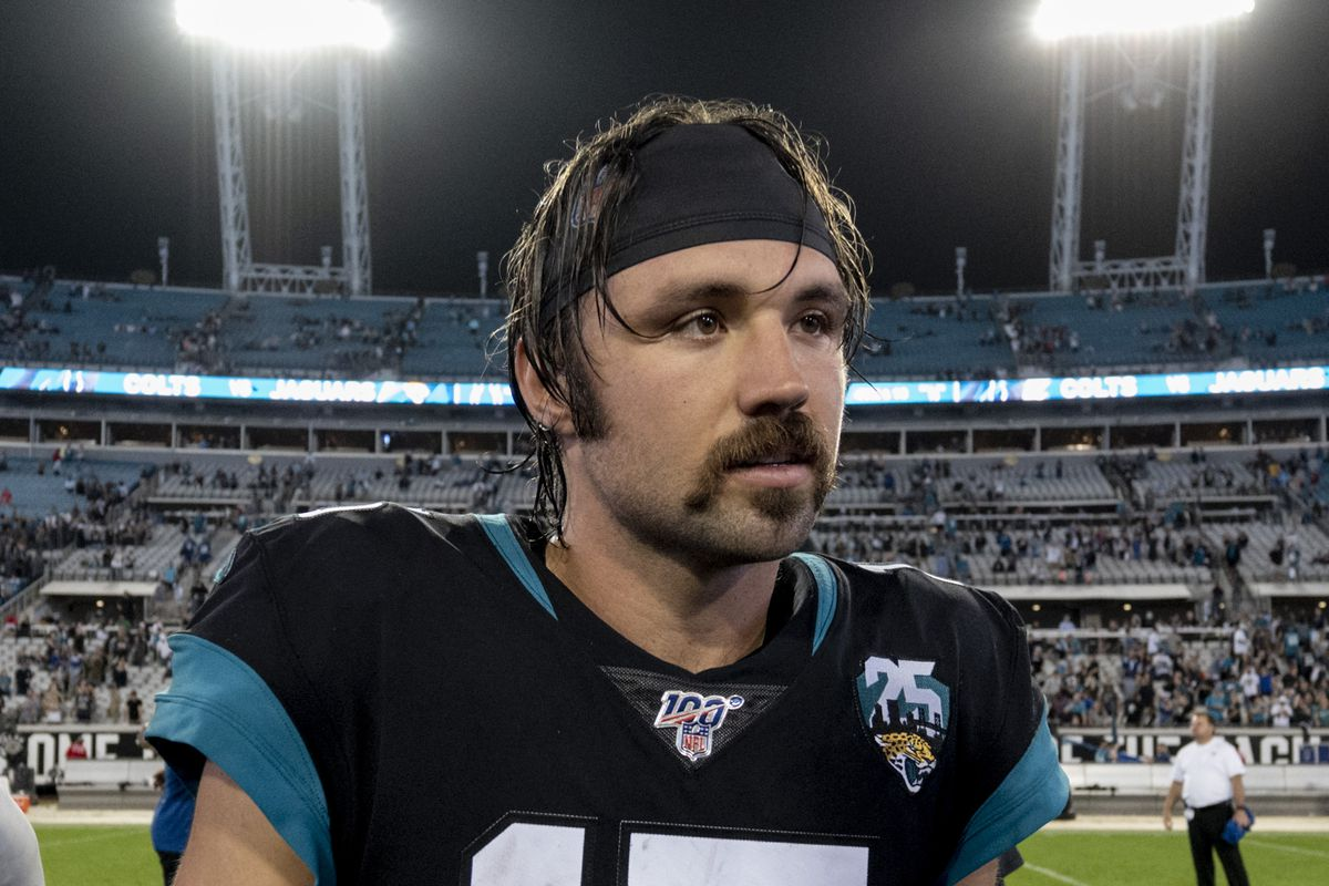 Jacksonville Jaguars quarterback Gardner Minshew II looks on after defeating the Indianapolis Colts at TIAA Bank Field.