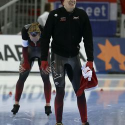 Canada's Graeme Fish, right, smiles after winning the 10000-meter race at the ISU World Single Distances Speed Skating Championships at the Utah Olympic Oval in Kearns on Friday, Feb. 14, 2020.