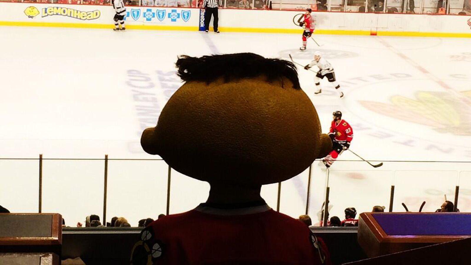 The new Lemonhead mascot haunts a Blackhawks game
