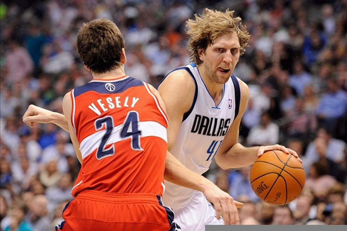 Rarely seen on the basketball court in the second half, because of predators, Dirk Nowitzki ain't going to be stopped by no Jan Vesely: Jerome Miron-US PRESSWIRE