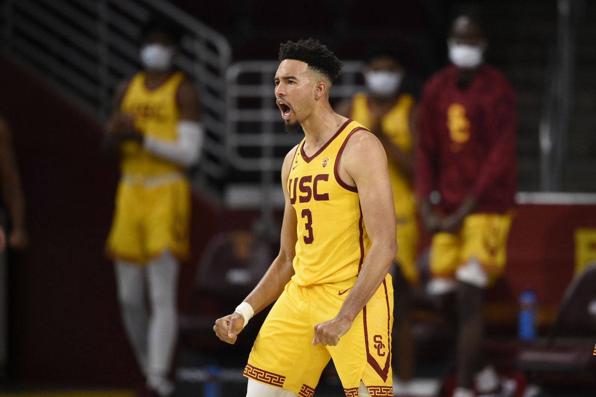 Southern California Trojans forward Isaiah Mobley celebrates after a dunk during the second half against the Arizona State Sun Devils at Galen Center.