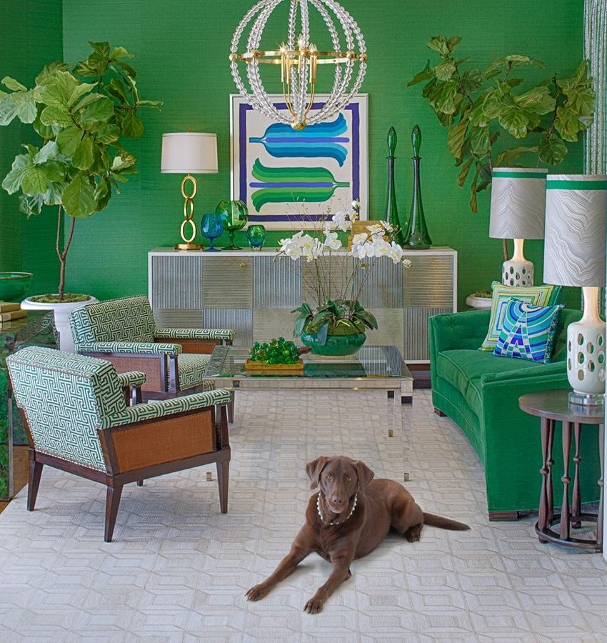 The interior of a furniture store. The walls are painted green. There is a green couch and two green arm chairs. There is a brown dog sitting on a tan patterned carpet looking towards the camera.