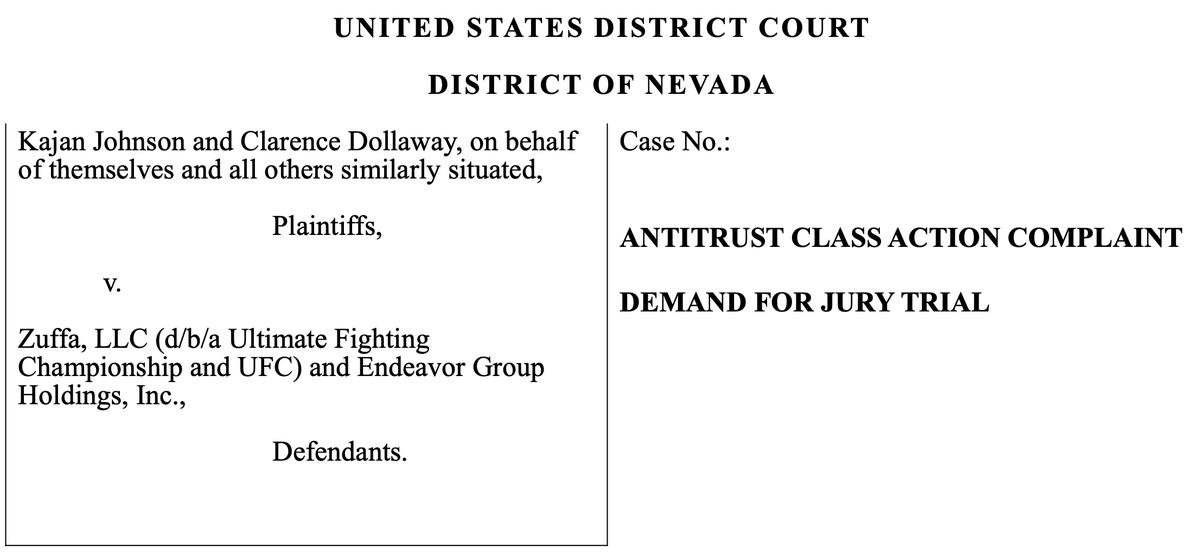New UFC antitrust lawsuit filed against the UFC