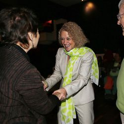 Salt Lake mayoral candidate Jackie Biskupski greets Connie and Jerry Floor while waiting for elections results during her election night party in Sugar House on Tuesday, Nov. 3, 2015.