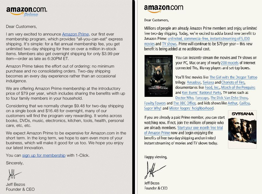 Jeff Bezos's letters to customers on the Amazon.com homepage announcing the Amazon Prime and Prime Video launches.  Courtesy of Amazon