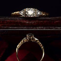"Erie Basin's <a href=""http://eriebasin.tumblr.com/post/24950330775/1930s-art-deco-0-15ct-early-brilliant-cut-diamond"">1930s Art Deco ring</a>, $625"