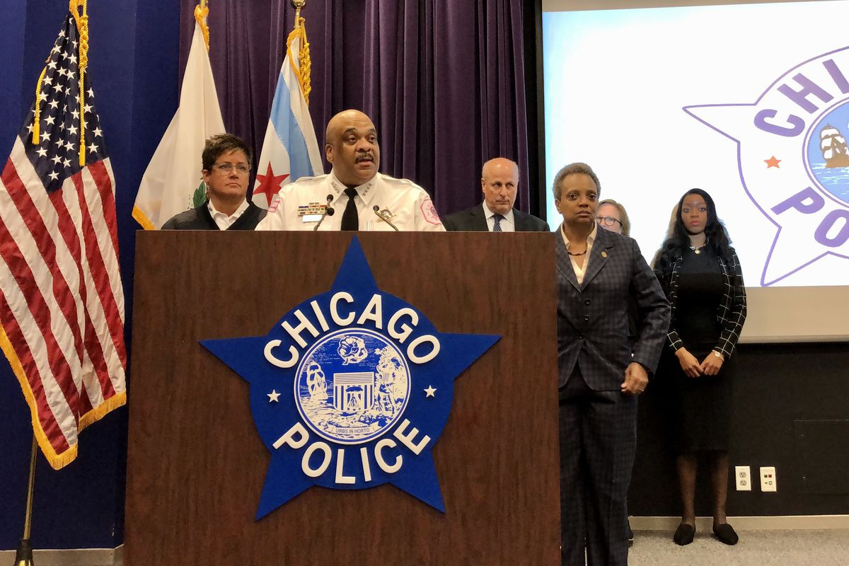 Chicago Police Supt. Eddie Johnson and Mayor Lori Lightfoot at a news conference Wednesday at police headquarters.