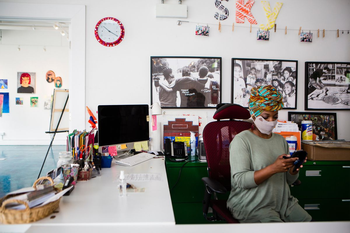 Tasha Robinson working in a face mask at the the SkyART studio in South Chicago.