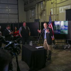 """Democratic National Committee Chairman Tom Perez speaks during a press conference before the """"Come Together and Fight Back"""" tour at the Rail Event Center in Salt Lake City on Friday, April 21, 2017. About 3,000 people attended the event."""