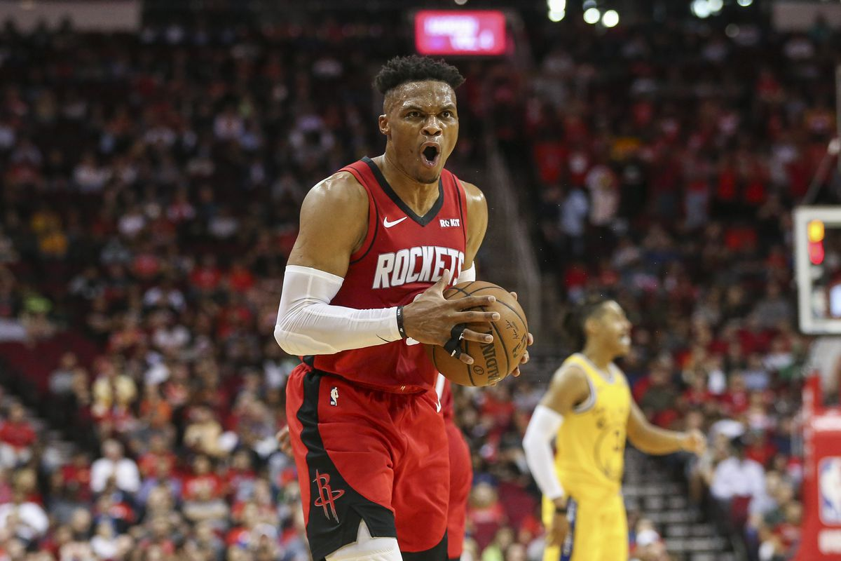 Houston Rockets guard Russell Westbrook reacts after a play during the second quarter against the Golden State Warriors at Toyota Center.