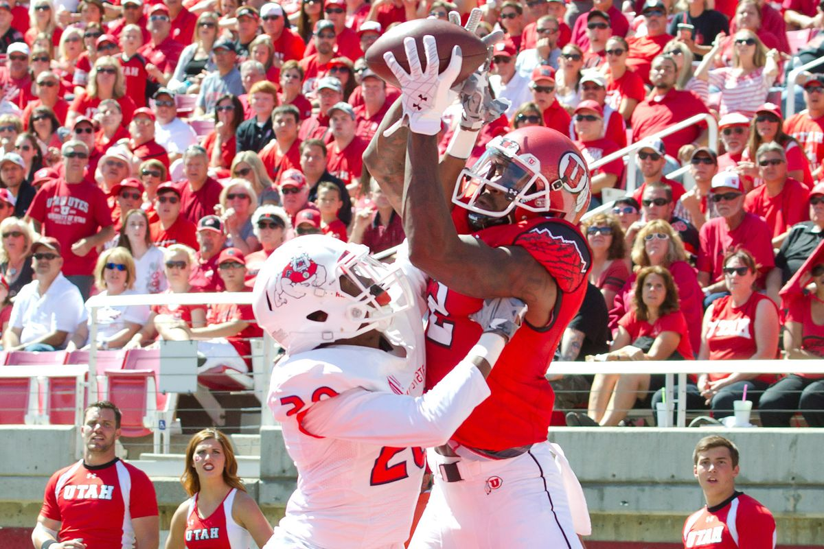 Utah wide receiver Kenneth Scott goes high on a fade route to haul in a touchdown versus Fresno State this past Saturday.