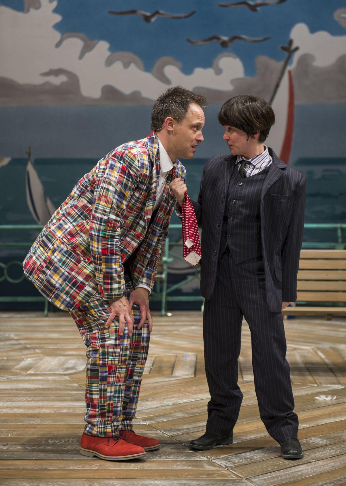 "Timothy Edward Kane and Elizabeth Ledo in Richard Bean's ""One Man, Two Guvnors"" at Court Theatre. (Photo: Michael Brosilow)"