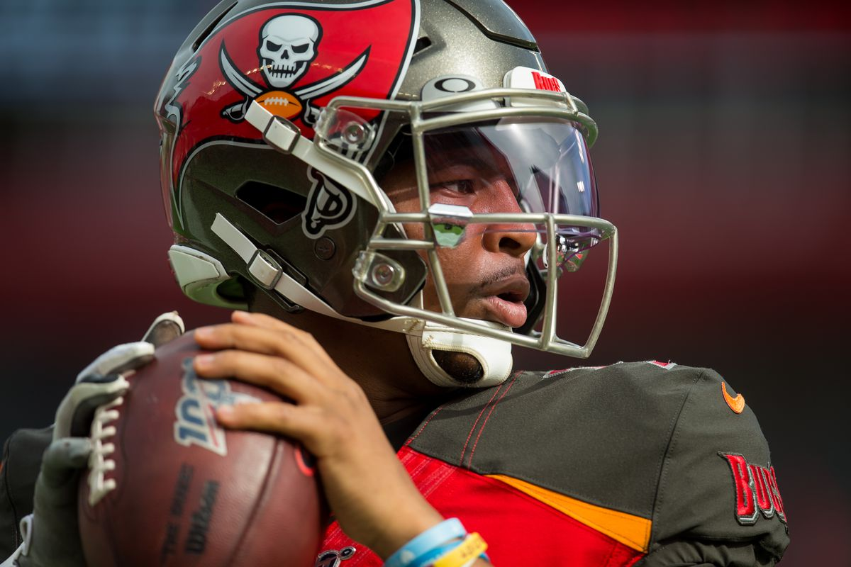 Tampa Bay Buccaneers Quarterback Jameis Winston (3) warms up before the Tampa Bay Buccaneers game versus the Atlanta Falcons on December 29, 2019 at Raymond James Stadium in Tampa, FL.