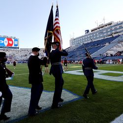 Members of the BYU ROTC practice before BYU and Utah play an NCAA football game at LaVell Edwards Stadium in Provo on Saturday, Sept. 11, 2021.