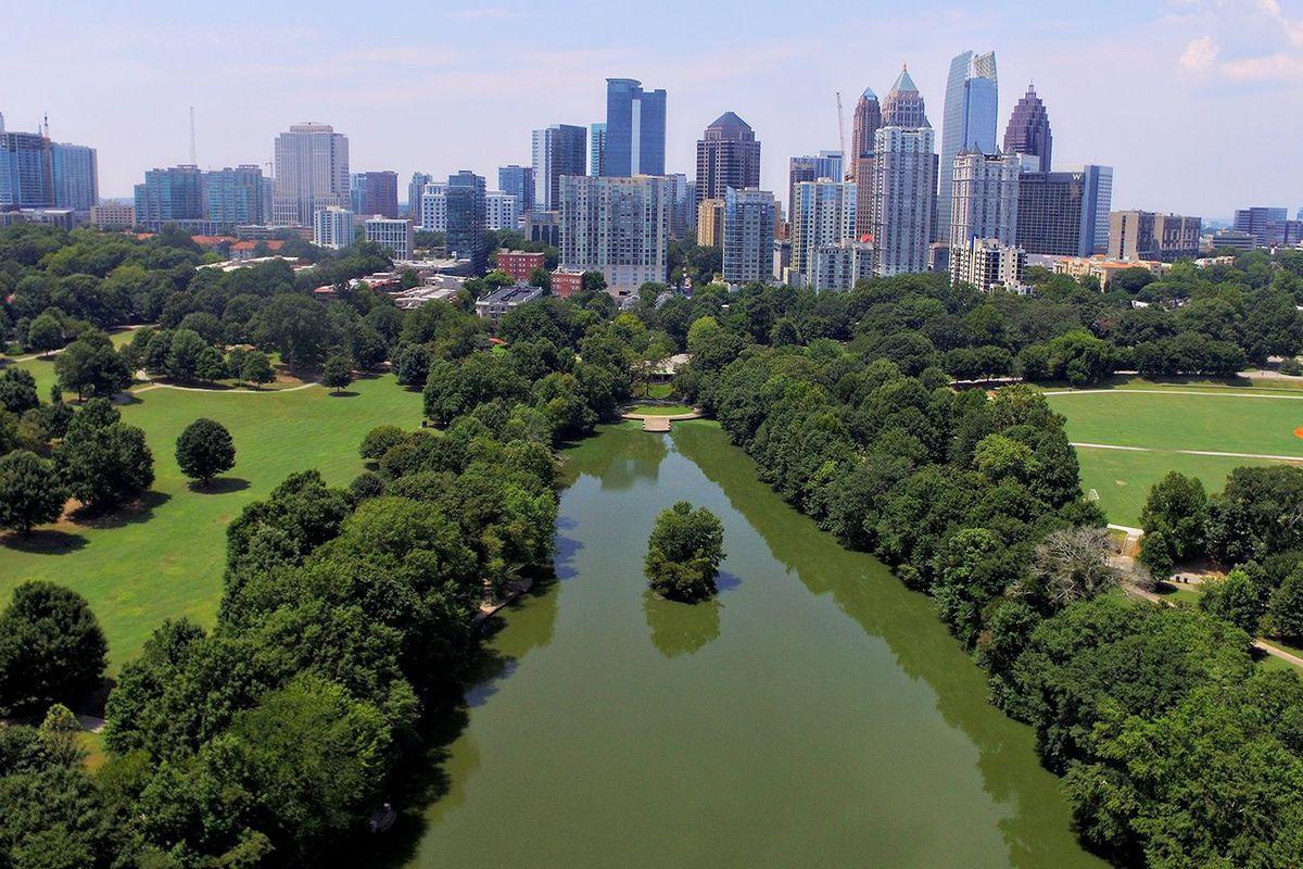 A drone image over Piedmont Park, Atlanta.