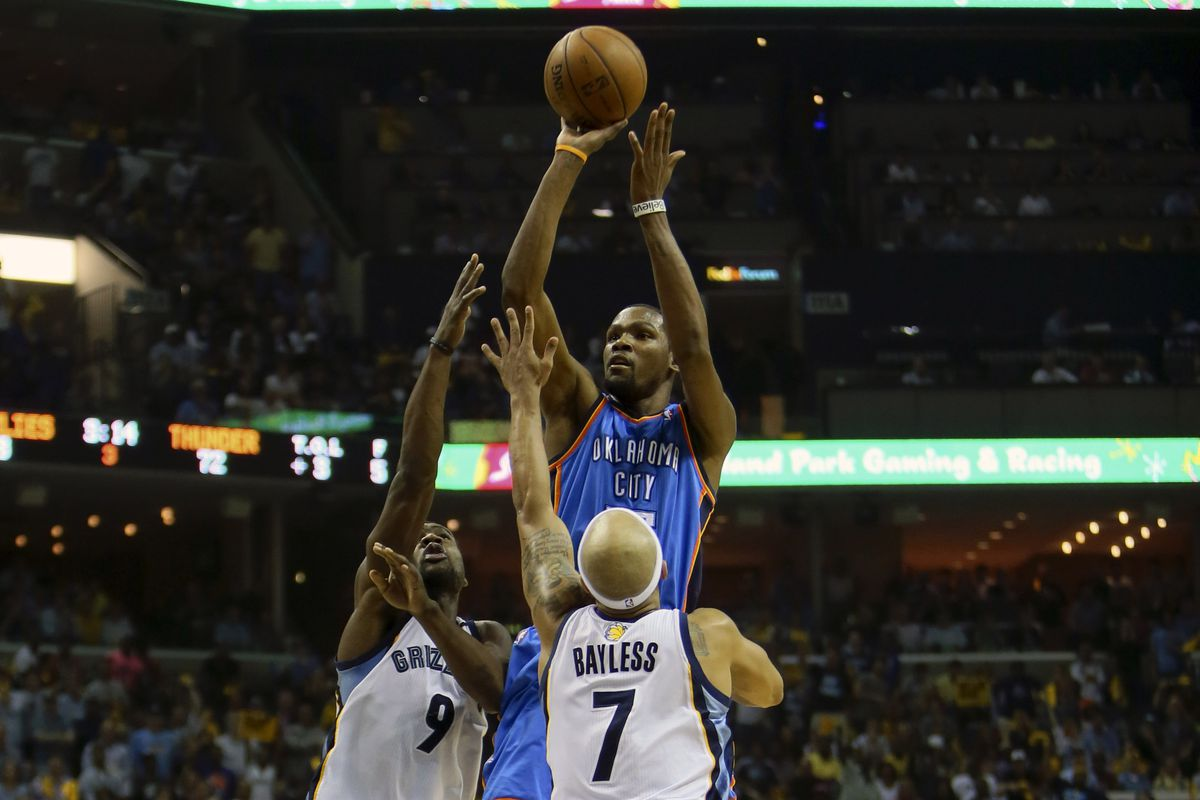 Sometimes, Durant can get this shot up before his opponent even notices.