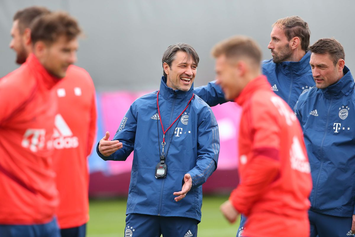 MUNICH, GERMANY - MAY 16: (EXCLUSIVE COVERAGE) Niko Kovac, head coach of Bayern Muenchen smiles during a FC Bayern Muenchen training session at Saebener Strasse training ground on May 16, 2019 in Munich, Germany.
