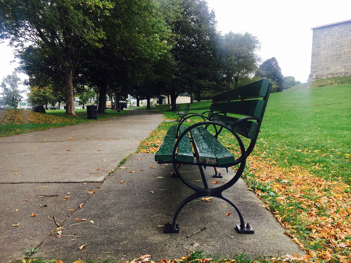A park bench along a pedestrian path, and there are fallen leaves around the bench.