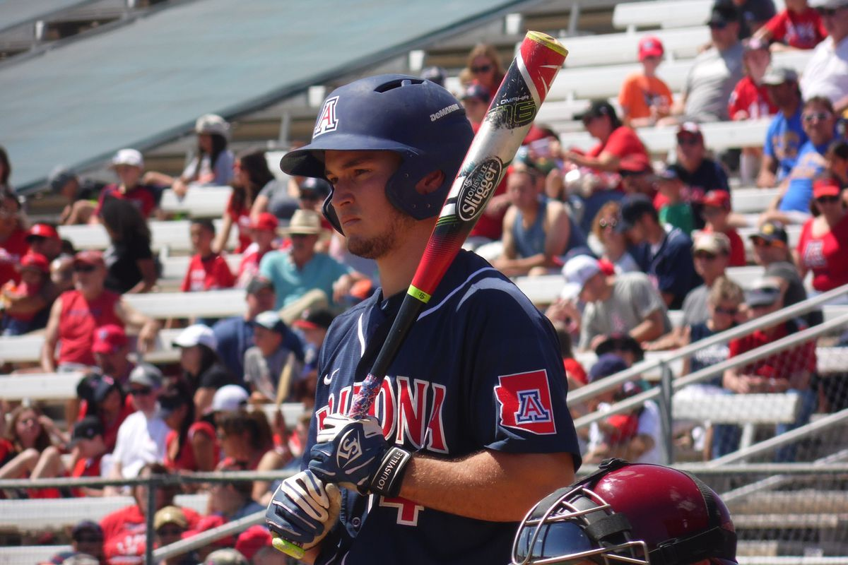 Justin Behnke was hit by a pitch to bring in the go-ahead run for Arizona in the 9th inning of Thursday night's game vs. USC