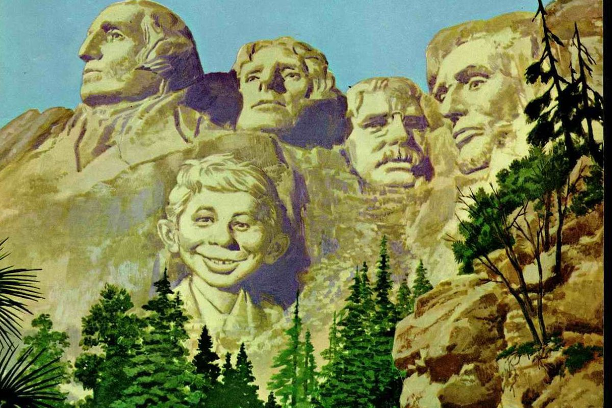 Mad magazine cover February 1957, with Alfred E. Neuman on Mount Rushmore