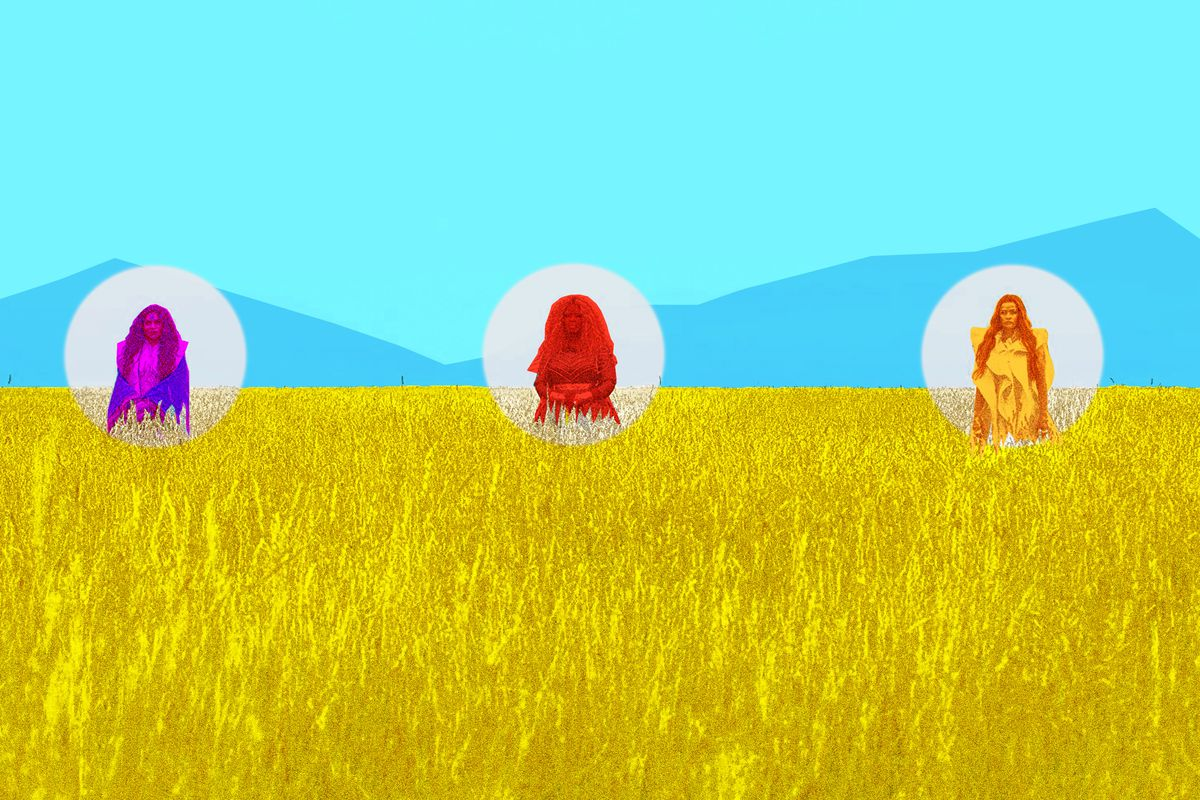 Three astral travelers in a corn field