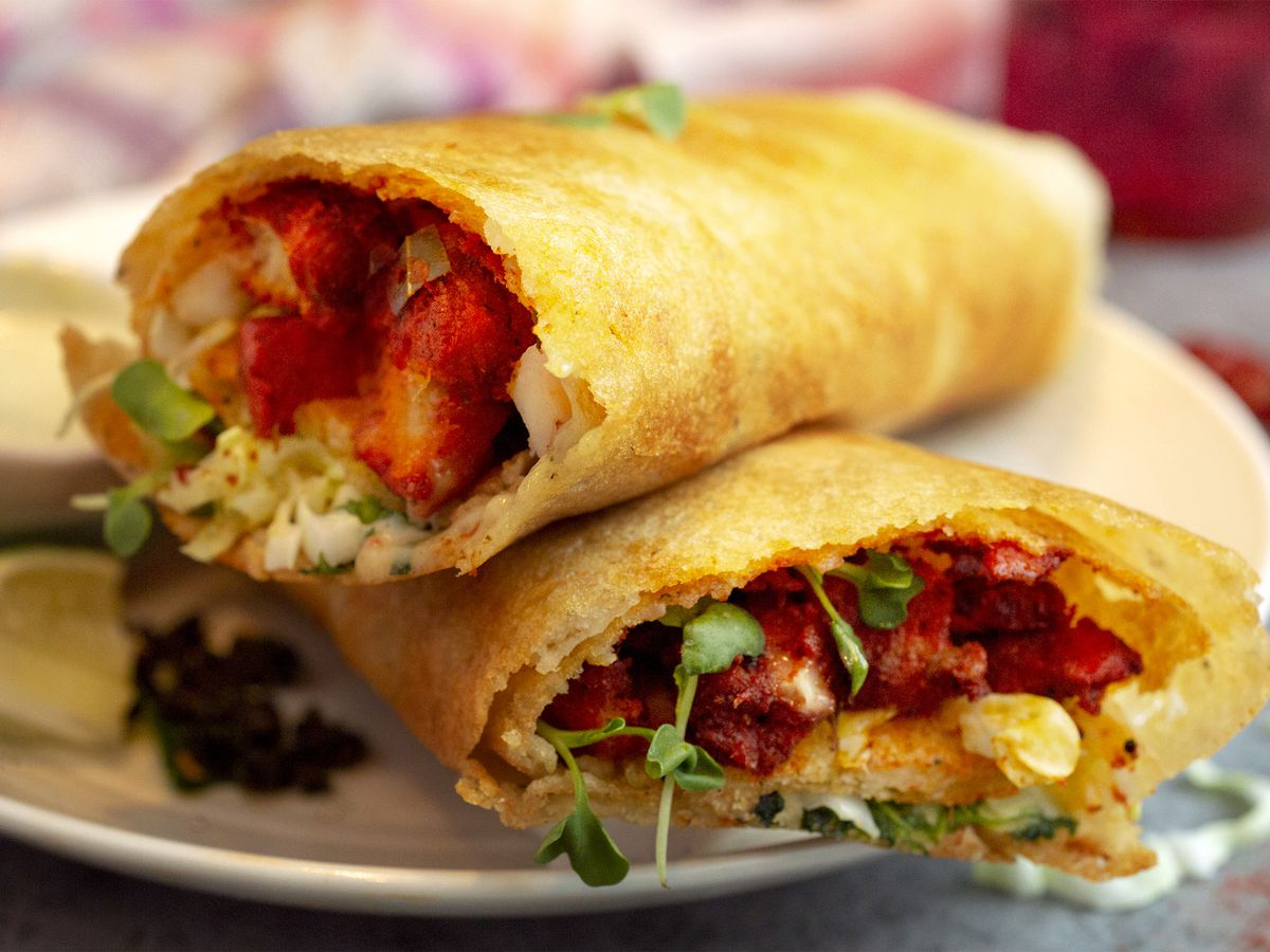 A dosa stuffed with soy protein chicken.