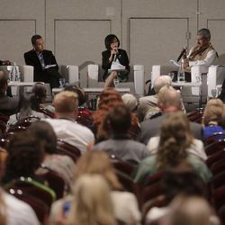 Utah Valley University President Astrid Tuminez moderates the Building Inclusive Communities Through Education panel at the 68th United Nations Civil Society Conference at the Salt Palace Convention Center in Salt Lake City on Monday, Aug. 26, 2019.