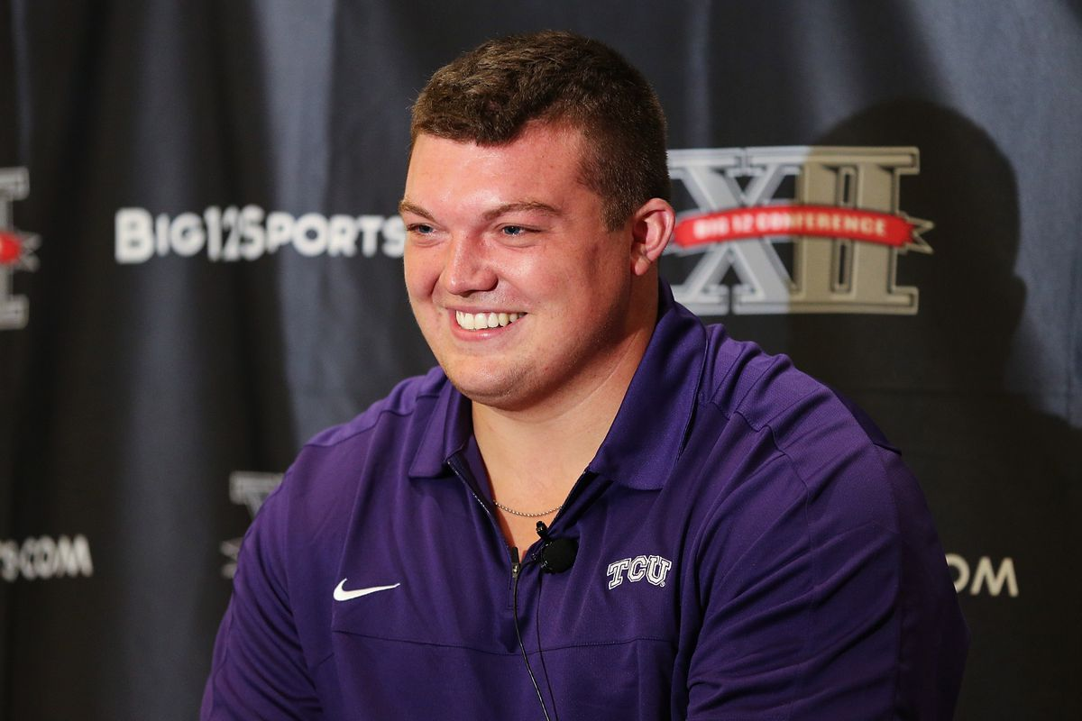 Jul 23, 2012; Dallas, TX, USA; TCU Horned Frogs offensive lineman Blaize Foltz speaks to reporters during Big 12 Media Day at the Westin Galleria.  Mandatory Credit: Kevin Jairaj-US PRESSWIRE