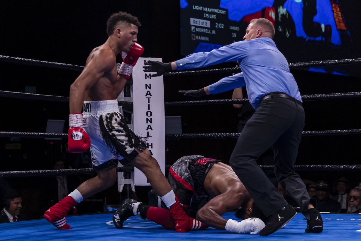 David Morrell Jr. knocks out Quinton Rankin during the second round of their light heavyweight fight at The Theater at MGM National Harbor on November 2, 2019 in Oxon Hill, Maryland.