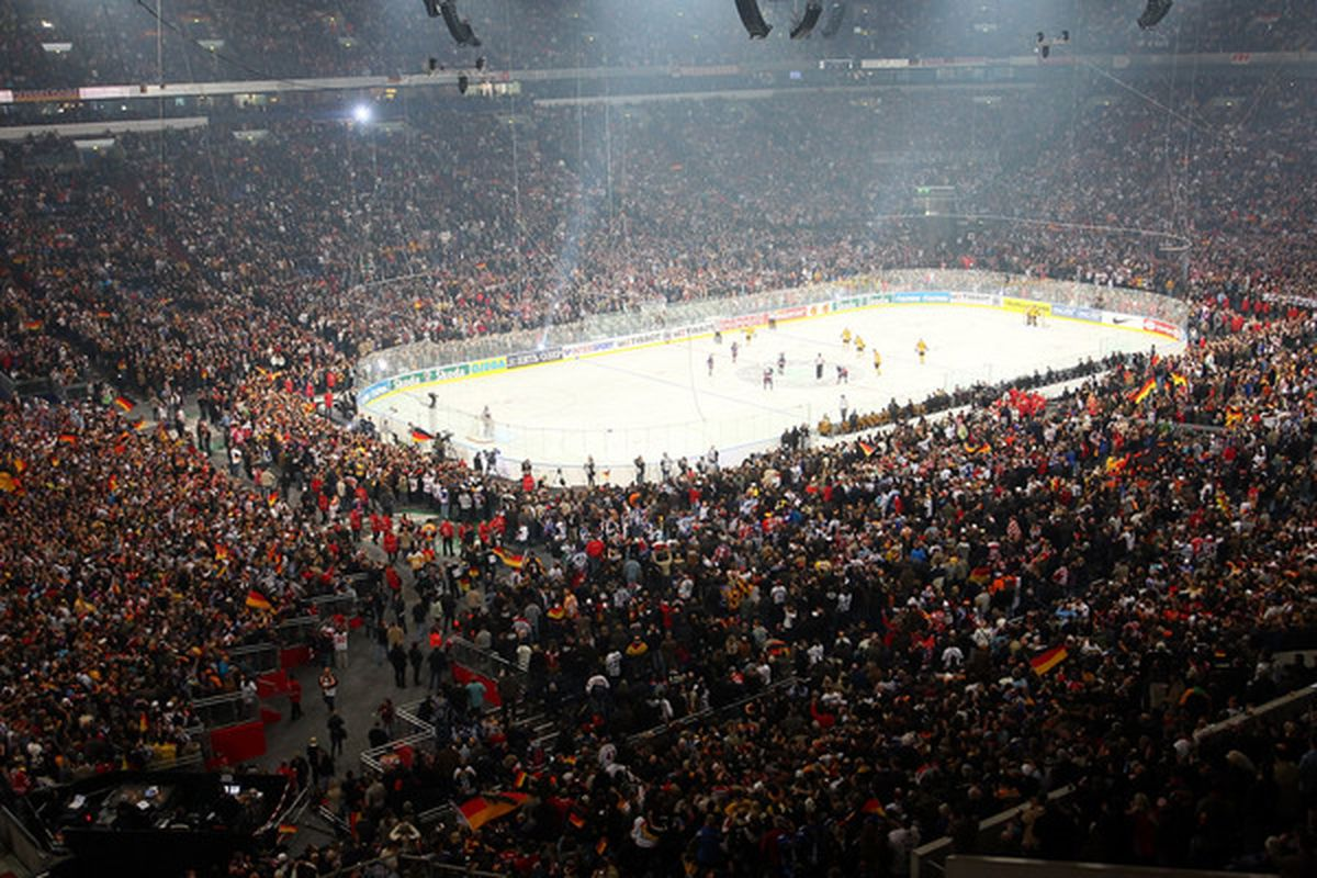 Despite a mediocre product, Germans love to come out and watch hockey.   Can the DEL ever become more than a minor league? (Photo by Christof Koepsel/Bongarts/Getty Images)