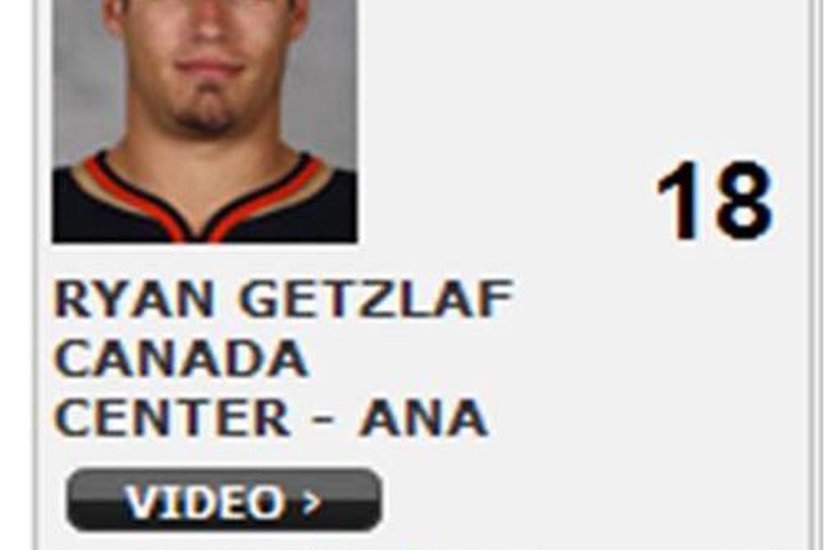 Visual evidence that Ryan Getzlaf did in fact lead the NHL in scoring for a moment last season, despite the fact that he picked up only one point through Anaheim's first seven games.