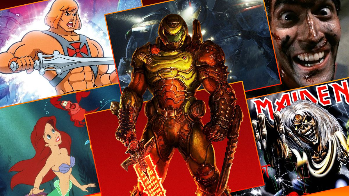 Doom guy stands in front of a grid featuring images that inspired the Doom Game