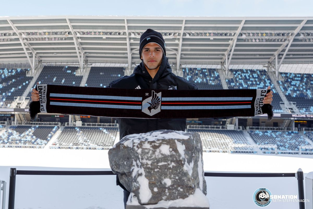 February 9, 2020 - Saint Paul, Minnesota, United States - Minnesota United's new signing Luis Amarilla poses for photos during the Introductory Press Conference at Allianz Field.