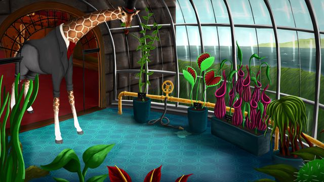 Lord Winklebottom Investigates - a giraffe in a dapper suit enters a greenhouse, examining a selection of curious plants.