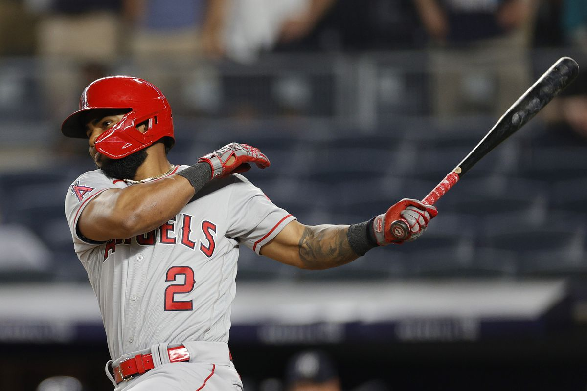 Luis Rengifo #2 of the Los Angeles Angels hits a go-ahead 2-RBI single during the ninth inning against the New York Yankees at Yankee Stadium on June 30, 2021 in the Bronx borough of New York City. The Angels won 11-8.