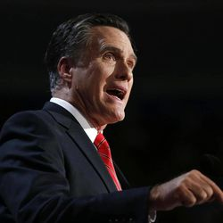 In this Aug. 30, 2012 file photo, Republican presidential candidate, former Massachusetts Gov. Mitt Romney speaks at the Republican National Convention in Tampa, Fla.